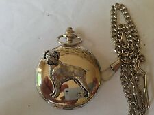 D8 Boxer  polished silver case mens GIFT quartz pocket watch fob