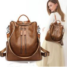 UK Women Ladies Soft Faux Leather Shoulder Bags Backpack Handbag Messenger Black