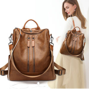 UK Women Ladies Soft Faux Leather Shoulder Bags Backpack Handbag Messenger Black