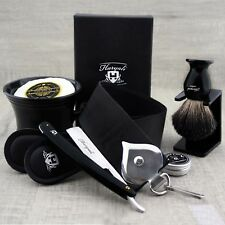 Complete Classic Shaving Set Straight Razor/Cut Throat & Pure Black Badger Brush