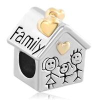 Family Heart Love House Mom Silver Plated Pandora Charms Bead Jewelry Bracelet