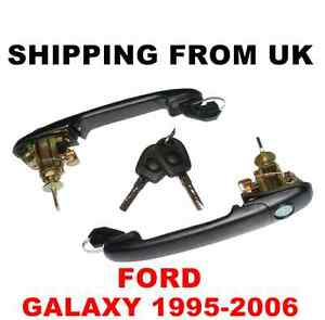 2 HANDLE + DOOR LOCK SET FRONT LEFT RIGHT 2 SAME KEYS for FORD GALAXY 42mm PIN