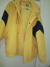 Outer Banks all weather coat w hood Yellow Navy trim Rotary Boating Fishing XL