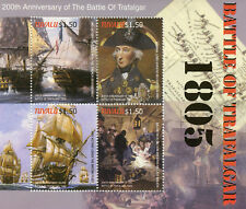 Tuvalu 2005 MNH Battle of Trafalgar Lord Horatio Nelson 4v M/S Ships Stamps