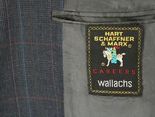 HART SCHAFFNER & MARX Vtg 90s Gray Windowpane PLAID BLAZER COAT JACKET MEN'S 43R