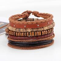 2017 Fashion Men Women Leather Wrap Wristband Cuff Bracelet Bangle Jewelry Gifts