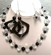 Women's Clear  Acrylic Faceted with Black Accent Bead Necklace Set