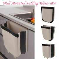 Wall Mounted Folding Waste Bin Kitchen Trash Can Rubbish Container Car Home Use
