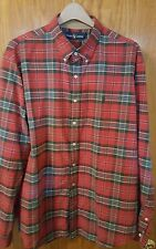Ralph Lauren Men's DEEP Red Plaid Flannel Vintage Classic Fit