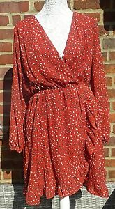 Ladies Long Sleeved Wrap  Effect Dress- Red/ Pattern- UK Size 14 -NEW