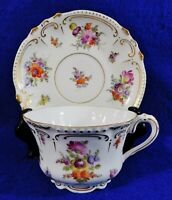 Beautiful Antique DRESDEN Germany Hand Painted Floral Gold Tea Cup & Saucer Set
