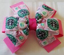 Starbucks  Inspired Woman's  Girl's Pink hair Bow Starbucks Barrette Accessories