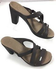 Crocs Cyprus IV Heels Sandals Shoes Espresso/Mushroom Croslite Women's Size 7