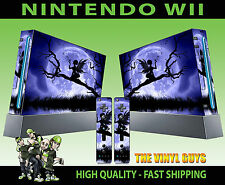 NINTENDO WII STICKER MOONLIGHT GOTHIC FAIRY SILHOUETTE WINGS SKIN & 2 PAD SKINS