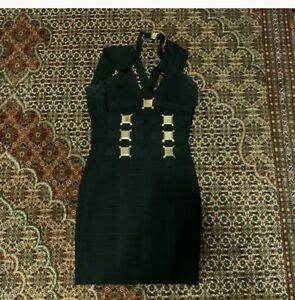 Herve Leger Black with Gold Accent Dress