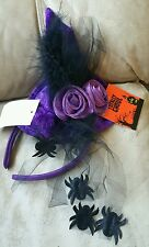 Purple Spider Hat Headband Velvet Witch Roses Mesh Feathers Ghoul Halloween