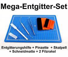 6er MEGA-Entgitter-Set Entgitternadel+Pinzette+Skalpell+Schneidematte+2Rakel
