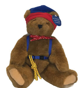 """Vtg Vermont Teddy Bear 12"""" Fully Jointed Plush Hiker w Rope Harness Backpack Hat"""