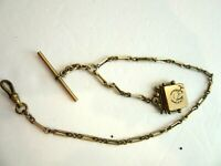 """Antique 12"""" Gold Filled Pocket Watch Chain & Square Locket Fob"""