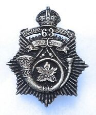 CANADIAN MILITIA. 63rd HALIFAX RIFLES OFFICERS STERLING SILVER CAP BADGE.