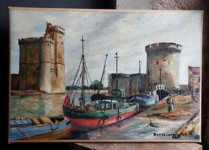 Joli TABLEAU signé Peinture huile toile HST Marine mer port la Rochelle charente