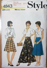 Style sewing pattern no.4843  ladies skirt size 14 vintage