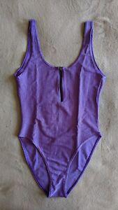 Vintage Aerobic Bodysuit Teddy Swimsuit Leotard - Purple with zipper (Size: M/L)