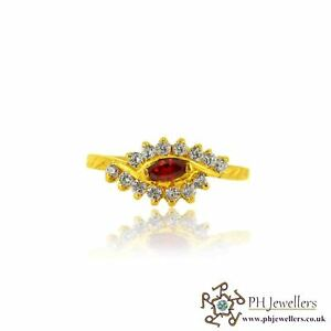 22ct 916 Hallmark Yellow Gold Ring with Garnet and CZ Stones Size L1/2 SR124
