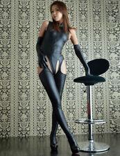 Sexy Black Vinyl Faux Leather Fetish Bondage Goth Gloved Teddy Catsuit 8 10 12