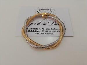 Bracciale in oro giallo e oro bianco 18kt 750% maglia elastica Made in Italy