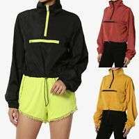 TheMogan Contrast Half Zip Funnel Neck Lightweight Pullover Anorak Shell Jacket