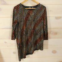 Chico's Travelers size 2 Women's Large Asymmetric Tunic Top Gold Black Brown