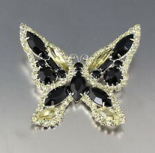 VINTAGE 50'S BLACK & YELLOW CRYSTAL GLASS RHINESTONE BUTTERFLY BROOCH PIN