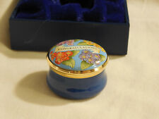 Halcyon Day Enamel Congratulations Pill box w/ flower lid + navy blue bottom