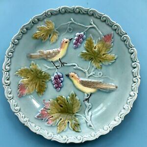 Antique Vintage George Schmider Zell Plate marked Foreign Bird / Grapes D 16.5cm