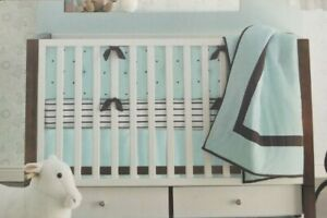 Tiddliwinks Luxe 100% Cotton White, Green & Brown Stripe Fitted Crib Sheet NIP