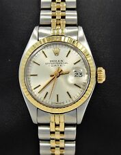 Rolex Date 6917 Jubilee 14K Yellow Gold/SS Silver Sticks Dial Ladies Watch