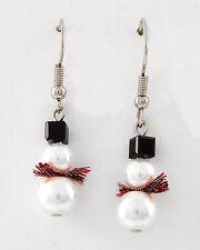 Christmas Holiday Swarovski Elements & Faux Pearl Snowman Earrings
