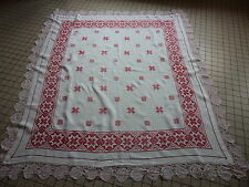 NAPPE ALSACIENNE EN LIN BRODERIE ROUGE / COUTURE / CREATION  1m64 / 1m52
