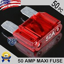 50 Pack 50A AMP Platinum Plated Large Audio Blade MAXI Fuse 12V 24V 32V Auto US