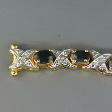 Sapphire & Diamond Gold on Sterling Bracelet GREAT LOOK