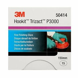 3M Trizact Fine Finishing Polishing Sanding Discs P3000 Grit Hookit 150mm 50414