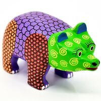 "Handmade Alebrijes Oaxacan Copal Wood Carving Painted Folk Art Bear 4.75"" Figure"