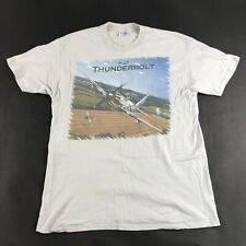 Vintage P-47 Thunderbolt Airplane T-Shirt Tan Hanes Beefy Sz XL Made in USA