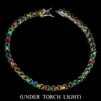 Oval Black Opal Hot Rainbow 4x3mm 925 Sterling Silver Bracelet 7 Inches