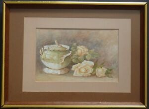 STILL LIFE. VINTAGE SUGAR - BOWL AND ROSES.  WATERCOLOUR - R. FORSTER(1929).