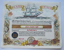 USS Klickithe AOG-64 Plank Owner Certificate  Plank Owner Certificate  1945