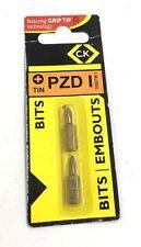 C K Tools Screwdriver Bit PZ1 Card of 2 - T4562TIN1