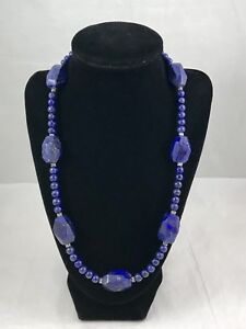 GENUINE CHUNKY LAPIS LAZULI AND STERLING SILVER HANDMADE STATEMENT NECKLACE