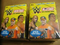 TWO Topps 2016 WWE Heritage Wrestling Cards Blaster Box 7 Packs + Relic Card Per